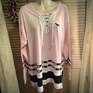 PINK Victoria's Secret lace front tee Large XL NEW